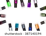 many nail polish on a white... | Shutterstock . vector #387140194
