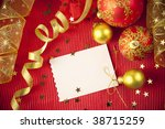 Christmas cards and paper with decorations and copy space - stock photo