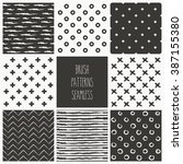 set of brush patterns. vector...   Shutterstock .eps vector #387155380