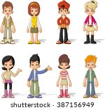 group of cartoon young people.... | Shutterstock .eps vector #387156949