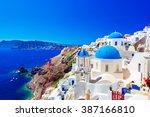oia town on santorini island ... | Shutterstock . vector #387166810