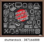 doodle gadgets and computer... | Shutterstock .eps vector #387166888