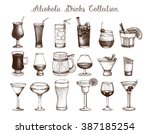 big set of vintage alcoholic... | Shutterstock . vector #387185254