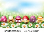 easter background with colorful ... | Shutterstock .eps vector #387196804