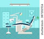 flat poster of dental room... | Shutterstock .eps vector #387202516