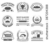 bakery black white emblems set... | Shutterstock .eps vector #387204388