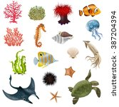 set of sea life cartoon icons... | Shutterstock .eps vector #387204394
