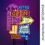 retro signboard with light... | Shutterstock .eps vector #387204418