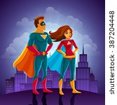 super heroes couple man and... | Shutterstock .eps vector #387204448
