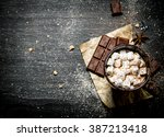 hot chocolate with bitter...   Shutterstock . vector #387213418
