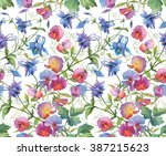 aquilegia flowers and sweet pea ... | Shutterstock . vector #387215623