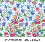 aquilegia flowers and sweet pea ... | Shutterstock . vector #387215626