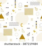Stock vector geometric gold pattern for fashion and wallpaper memphis style for fashion 387219484