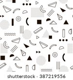 Stock vector vector pattern with black and white geometric shapes hipster fashion memphis style 387219556