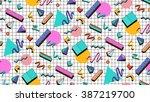 bright vector pattern 80's.... | Shutterstock .eps vector #387219700