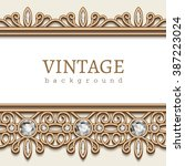 vintage gold jewelry background ... | Shutterstock .eps vector #387223024