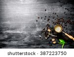 coffee pot with coffee beans ... | Shutterstock . vector #387223750