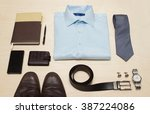 men's classic outfit with blue... | Shutterstock . vector #387224086