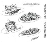 hand drawn food appetizer and... | Shutterstock .eps vector #387232186