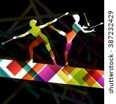 carnival jugglers women... | Shutterstock .eps vector #387232429