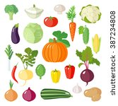 set of vegetables icons.... | Shutterstock .eps vector #387234808