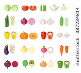 set of vegetables icons.... | Shutterstock .eps vector #387234814