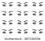 icons set female eyes look with ... | Shutterstock . vector #387236536