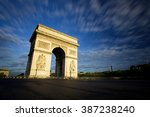 arc de triomphe at sunset  paris   Shutterstock . vector #387238240