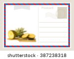air mail postcard .vector... | Shutterstock .eps vector #387238318