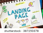 Small photo of Landing page written in a notebook. SEO concept.
