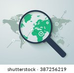 analyzing. graph with arrow up... | Shutterstock .eps vector #387256219
