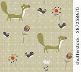 background martens  birds and... | Shutterstock .eps vector #387258670