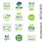 vector hand drawn eco organic... | Shutterstock .eps vector #387261853