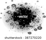 ink splat overlayed by halftone ... | Shutterstock .eps vector #387270220