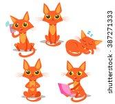 cute cartoon red cat vector set.... | Shutterstock .eps vector #387271333