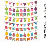 vector set of cute easter and... | Shutterstock .eps vector #387272734