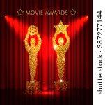 cinema gold glitter awards set... | Shutterstock .eps vector #387277144