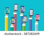 flat design mobile phone apps....   Shutterstock .eps vector #387282649