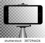 stick for selfie. monopod... | Shutterstock .eps vector #387296626