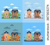 european city urban landscape... | Shutterstock .eps vector #387303274