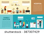 hospital and family doctor flat ... | Shutterstock .eps vector #387307429