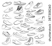 Vector Set Of Men Shoes Painte...