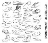 Vector Set Of Men Shoes Painte...