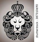 lion face logo emblem | Shutterstock .eps vector #387310690