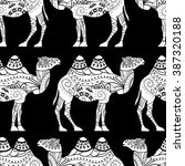 seamless pattern with camel... | Shutterstock .eps vector #387320188