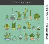 vector hand drawn cactuses and... | Shutterstock .eps vector #387325378