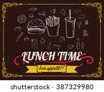 lunch menu design vintage on... | Shutterstock .eps vector #387329980