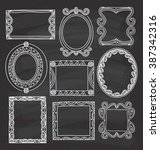 vintage photo frame in doodle... | Shutterstock . vector #387342316