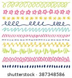 set of colorful hand drawn... | Shutterstock . vector #387348586