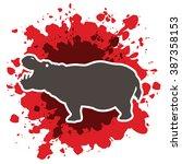 hippopotamus silhouette ... | Shutterstock .eps vector #387358153